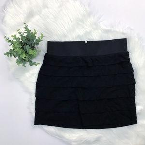 Express black layered mini skirt